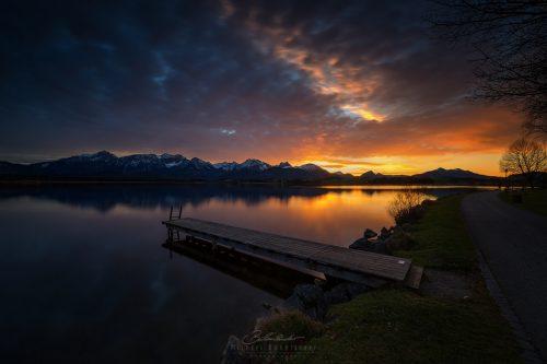 Landschaften Hopfensee Sonnenuntergang